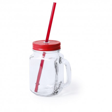 Słoik do picia, butelka 500 ml, słomka V8983-05